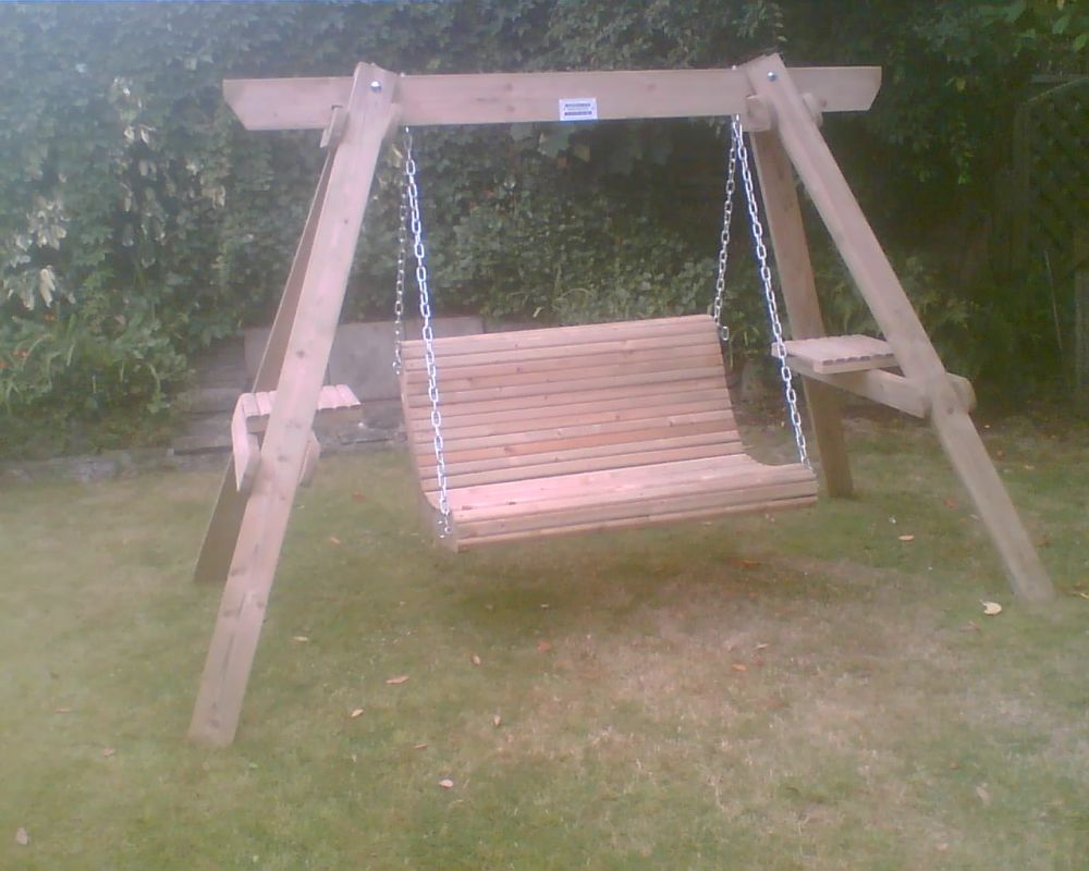 Custom built wooden garden swinging seat.